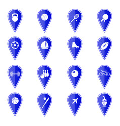set of blue map pointers with sport icons vector image