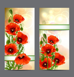 Set of summer banners with Red Poppies vector image vector image