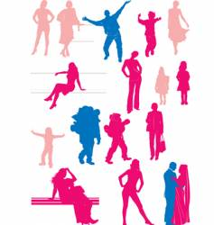 sixteen people silhouettes vector image vector image