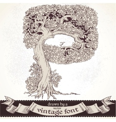 Fable forest hand drawn by a vintage font - p vector