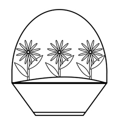 Flowers icon outline style vector