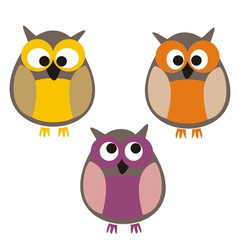 Funny colorful owls vector image vector image
