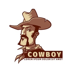 head with cowboy hat vector image