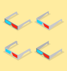 set of paper 3d glasses in isometric vector image