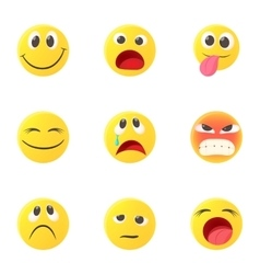 Types of emoticons icons set cartoon style vector image vector image