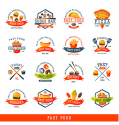 Colorful cartoon fast food label logo isolated vector
