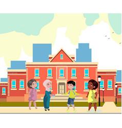 kids of different nationalities in school vector image vector image