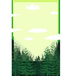 Pine forest with green sky vector image