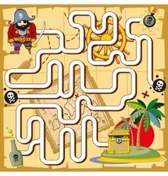 Pirate maze labyrinth game for preschool children vector image