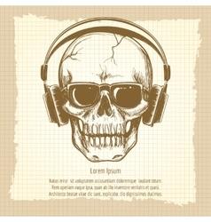 Skull sketch with headphones vintage style vector image