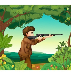 A boy with a gun inside the forest vector image vector image