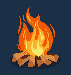 bonfire - camping burning woodpile campfire or vector image vector image