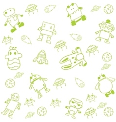 Green robot doodle art vector image
