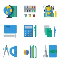 School accessories colored simple icons vector image