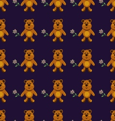 seamless pattern with brown bears vector image