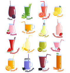 smoothie cocktails icon set vector image vector image
