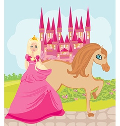 The Beautiful princess and her cute horse vector image