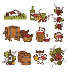 winemaking or wine production viticulture icons vector image vector image