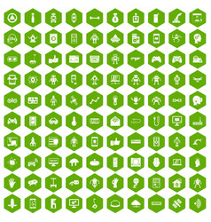 100 robot icons hexagon green vector