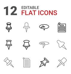 12 thumbtack icons vector