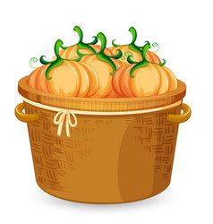 A basket of pumpkin vector