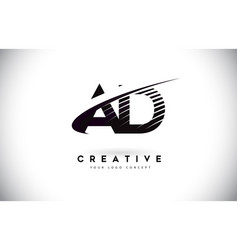 Ad a d letter logo design with swoosh and black vector