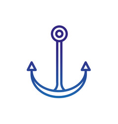 anchor nautical marine life thick line blue vector image