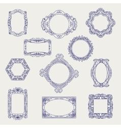 Ball pen sketch of vintage frames vector image