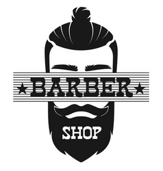Barber shop bearded man face retro vintage label vector