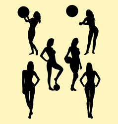beautiful girl playing ball silhouette vector image