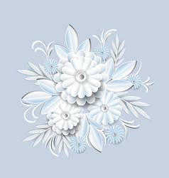 beautiful white flowers isolated on grey vector image