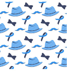blue ribbon mustache hat seamless pattern vector image