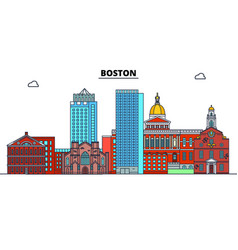 boston united states flat landmarks vector image