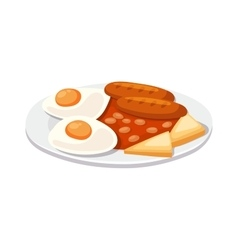Breakfast with scrambled eggs and toasts sausage vector image