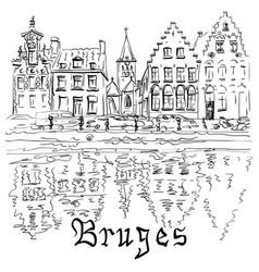 bruges canal with beautiful houses vector image