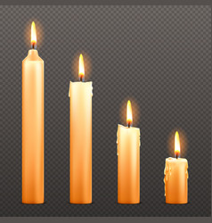burning candles different sizes vector image