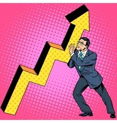 Businessman raises growth chart vector image vector image