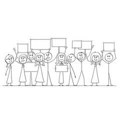 Cartoon drawing of group of people protesting vector