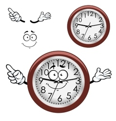 Cartoon wall clock with brown rim vector