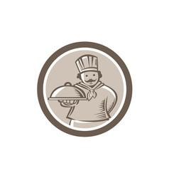 Chef Cook Serving Food Platter Circle vector
