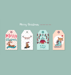 Christmas and new year cute cartoon label set vector