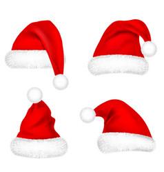 christmas santa claus hats with fur set new year vector image