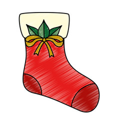 christmas sock decorative icon vector image
