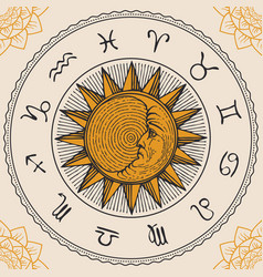 Circle zodiac signs with hand drawn sun vector