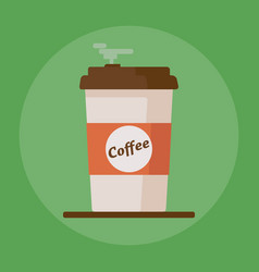 Coffee cup icon with text coffee on green vector