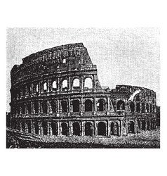 Colosseum damage caused by earthquakes vintage vector
