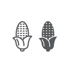 corn line and glyph icon corncob and vegetable vector image