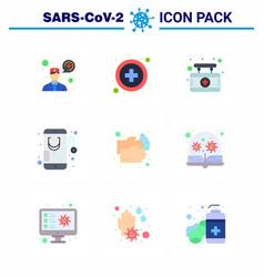 Coronavirus prevention 25 icon set blue wash hand vector
