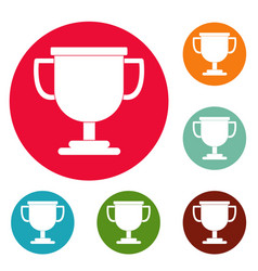 Cup award icons circle set vector