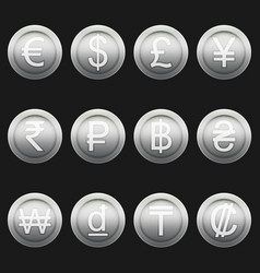 Currency coins symbols icons metallic silver set vector
